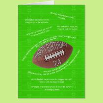24th birthday, really bad football jokes card