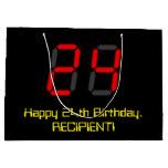 "[ Thumbnail: 24th Birthday: Red Digital Clock Style ""24"" + Name Gift Bag ]"