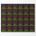 """[ Thumbnail: 24th Birthday: Red Digital Clock Style """"24"""" + Name Wrapping Paper ]"""