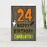 [ Thumbnail: 24th Birthday: Spooky Halloween Theme, Custom Name Card ]
