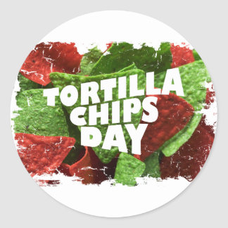 24th February - Tortilla Chip Day Classic Round Sticker