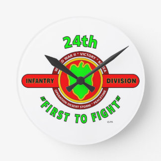 """24TH INFANTRY DIVISION """"FIRST TO FIGHT"""" PRODUCTS ROUND WALLCLOCK"""