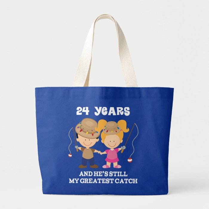 24 Wedding Anniversary Gift: 24th Wedding Anniversary Funny Gift For Her Large Tote Bag