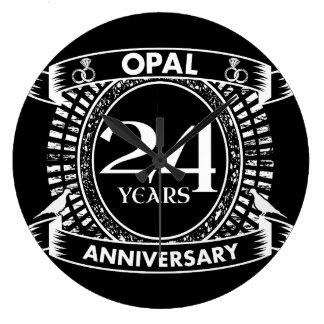 24TH wedding anniversary opal Large Clock