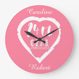 24th wedding anniversary traditional opal large clock