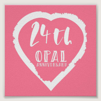 24th wedding anniversary traditional opal poster