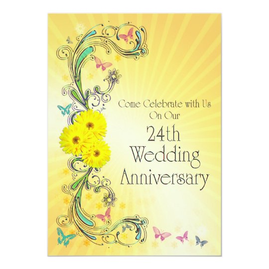 24th Wedding Anniversay Party Invitation