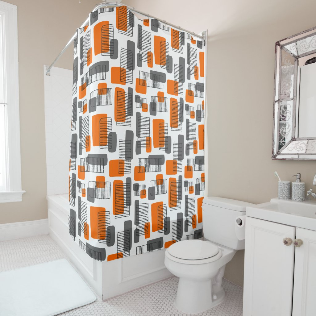 251215 - Orange and Gray Shower Curtain