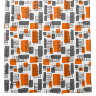 251215  Orange and Gray Shower Curtain And Curtains Zazzle