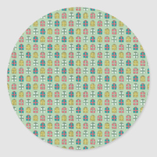 252 COLORFUL GIFTS BOXES GIFTBOXES PRESENTS  PATTE CLASSIC ROUND STICKER