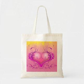 257528 PRETTY PINK YELLOW PURPLE DECORATIVE HEART TOTE BAG