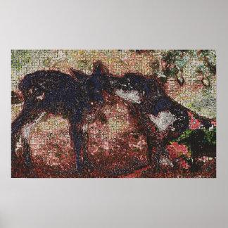 257 - perro y ciervos póster