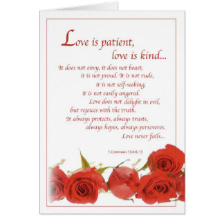 2596 Love is Patient Red Roses, Wedding Greeting Card