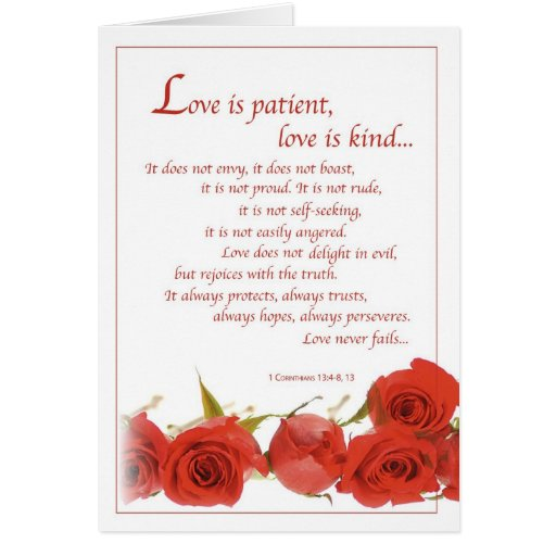 2596 Love Is Patient Red Roses Wedding Greeting Card