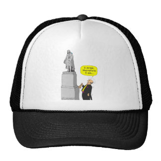 259 Descartes I drink therefore I am cartoon Trucker Hats