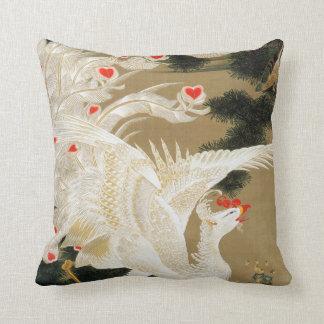 25. 老松白鳳図, 若冲 Pine-tree and Chinese Phoenix, Jakuc Throw Pillows