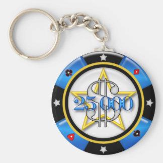 $25,000.00 Poker Casino Gambling Chip Basic Round Button Keychain