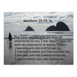 25:35,36 de Matthew para mí tenía hambre y usted Postales
