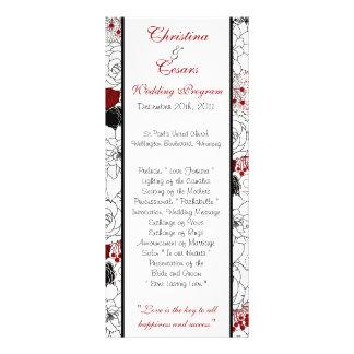 25 4 x 9 Wedding Program Black Flowers Red leaves Rack Card Design
