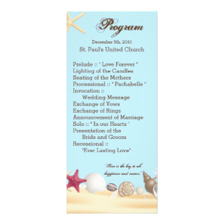 25 4x9 Wedding Program Beach Sea Shells Ocean Sand