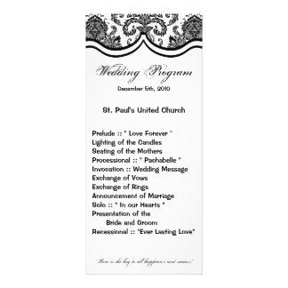25 4x9 Wedding Program Black White Damask Lace Pri