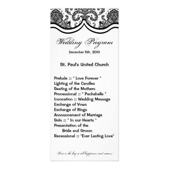 25 4x9 Wedding Program Black White Damask Lace Pri
