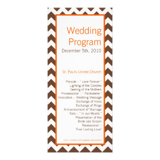 25 4x9 Wedding Program Brown Orange Chevron
