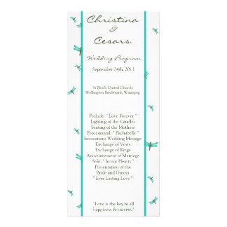 25 4x9 Wedding Program Cattail/Dragonfly in Color Customized Rack Card