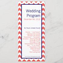 25 4x9 Wedding Program Coral Navy Blue Chevron Nam