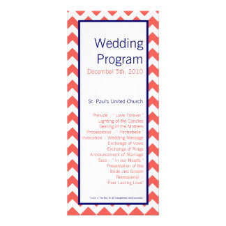 25 4x9 Wedding Program Coral Navy Blue Chevron Nam