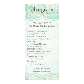 25 4x9 Wedding Program Country Mint Lace Print