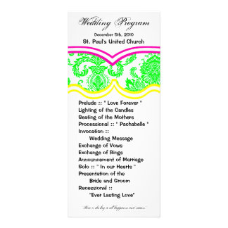 25 4x9 Wedding Program Damask Lace Print Pattern