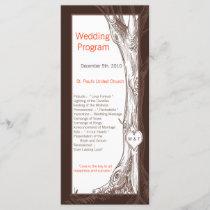 25 4x9 Wedding Program Fall Tree Initial Carvings