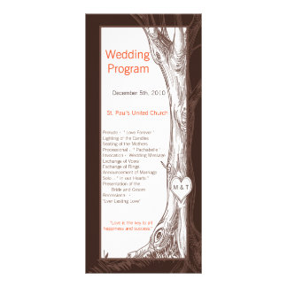 25 4x9 Wedding Program Fall Tree Initial Carvings