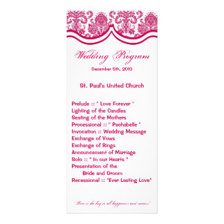 25 4x9 Wedding Program Fusia White Damask Lace Pri