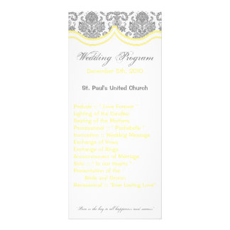 25 4x9 Wedding Program Gray Yellow Damask Lace
