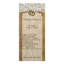 25 4x9 Wedding Program Horse Shoes on Burlap Lace