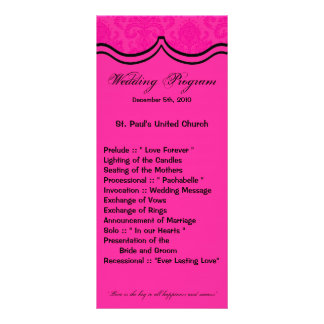 25 4x9 Wedding Program Hot Pink Black Damask Lace