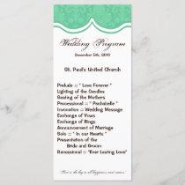 25 4x9 Wedding Program Mint Gree White Damask Lace