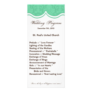 25 4x9 Wedding Program Mint Gree White Damask Lace