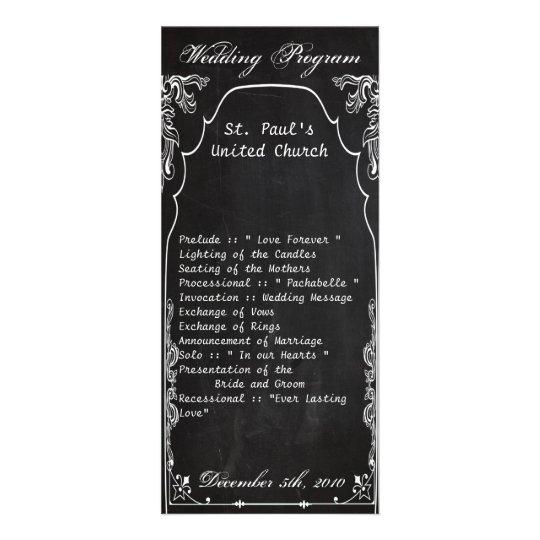25 4x9 Wedding Program Modern Chalkboard Vintage