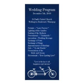 25 4x9 Wedding Program Navy Blue Double Bike Custom Rack Cards
