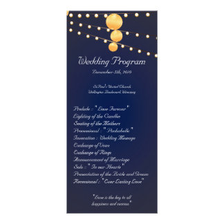 25 4x9 Wedding Program Paper Lanterns on Blue Chin