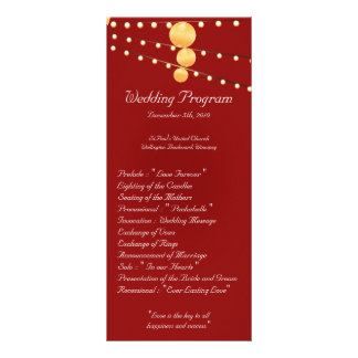 25 4x9 Wedding Program Paper Lanterns on Red