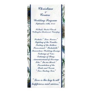 25 4x9 Wedding Program Peacock Feathers Blue/Green Rack Card Design