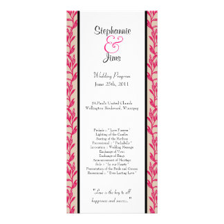 25 4x9 Wedding Program Pink and Black Wild Flowers