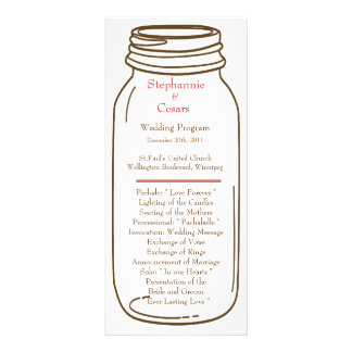 25 4x9 Wedding Program Pink/Brown Mason Jar