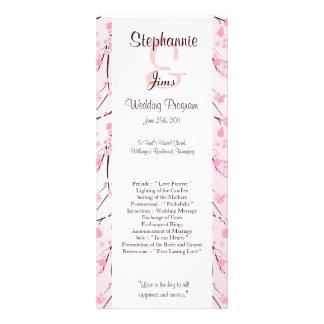 25 4x9 Wedding Program Pink Cherry Blossom