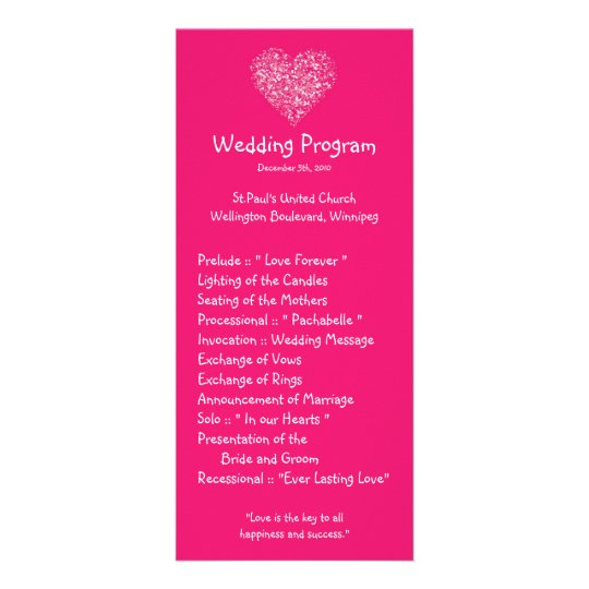 25 4x9 Wedding Program Pink Floral Petals Flower