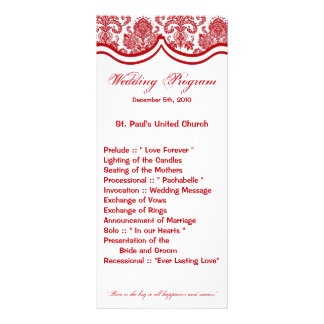 25 4x9 Wedding Program Red Crims White Damask Lace